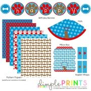 Puppy Dog Blue Red Brown Printable birthday party package by DimplePrints