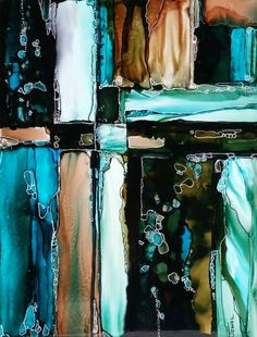 """Alcohol Ink on 6x8""""tile By Jewel Buhay"""