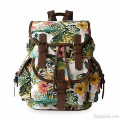 Wow~ I found Leisure Floral Flower Drawstring Hasp Canvas Backpack only $28.99 from ByGoods.com! I like it <3! Do you like it,too?