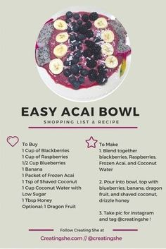 Make a super tasty, super easy acai bowl with this shopping list and recipe! (fr… Make a super tasty, super easy acai bowl with this shopping list and recipe! Healthy Smoothies, Smoothie Recipes, Healthy Snacks, Healthy Eating, Healthy Recipes, Smoothie Bol, Breakfast Desayunos, Love Food, The Best
