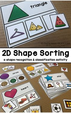 Shape Sorting activity for preschool, pre-k, and kindergarten. A great way to practice both shape recognition and classification. Part of a Mathematics (Functions · Measurement · Geometry · Reasoning) Center Activities packet. - Education and lifestyle Pre K Activities, Toddler Learning Activities, Kindergarten Activities, Kindergarten Shapes, File Folder Activities, Educational Activities, Center Ideas For Kindergarten, Math Games For Kindergarten, Quiet Time Activities