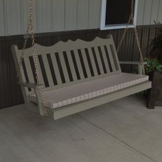 Outdoor A & L Furniture Yellow Pine Royal English Deluxe Garden Swing Olive Gray - 414-OGP OLIVE GRAY