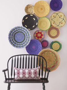 Woven Basket Wall Hanging gallery wall.      Round Weaving by GallivantingGirls