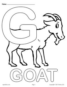 These fun and easy alphabet coloring pages are a great way for little ones to become familiar with the letter G! There are three unique letter G coloring pages included in this printable - one with. Coloring Pages For Boys, Alphabet Coloring Pages, Animal Coloring Pages, Coloring Book Pages, Printable Coloring Pages, Letter Worksheets For Preschool, Preschool Letters, Nursery Worksheets, Kids Letters