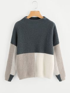 4ed8d68b55 SheIn offers Color Block Funnel Neck Jumper   more to fit your fashionable  needs.