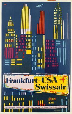 Swissair, Frankfurt - USA - Vintage Posters - Galerie 123 - The place to find vintage art