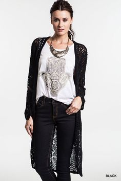 LONGLINE OPEN CROCHET CARDIGAN- Black
