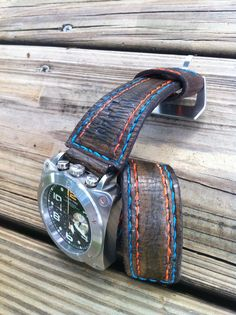 """Handmade """"GATOR"""" Fammo stitching in a Bell & Ross style for the Lum Tec Bull."""