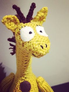 Handmade knitted giraffe Mervin the Giraffe: comes with a cute poem! Unique, one of a kind baby shower gift!