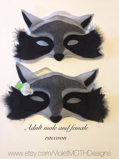 Racoon Mask, Felt Plush, Male or Female, Adult Size, (children's sizes available)
