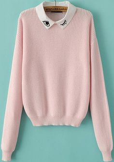 Pink Long Sleeve Eye Embroidered Knit Sweater