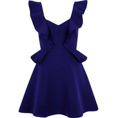 River Island Blue frill skater mini dress ($110) ❤ liked on Polyvore featuring dresses, blue, skater dresses, women, v-neck skater dresses, circle skirts, mini skater dress, short skater dress and blue dress