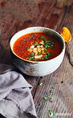 Turmeric & tomato soup. Warming,anti-inflammatory,delicious, what more could you ask for? Sprinkling seeds on top is a great idea for adding some crunch.