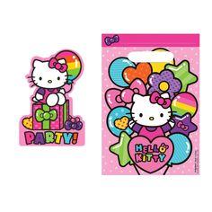 4dae8a0a8fa4 Hello Kitty Rainbow Balloon Birthday Party Invitation Loot Bag 16 Count Set  NEW  Sanrio