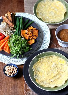 Gado gado egg wraps with fried sweet potato and spicy peanut sauce - a modern adaptation of the Indonesian classic || to her core