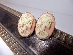 Pink Skull Earrings Lolita Lady Skeleton by DeadlyRomanticGirl