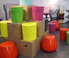 Latte glass inspired stools
