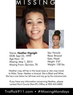 5/1/2014: Heather Hignight, 14, is missing from Quinlan, TX.