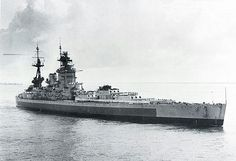 HMS Nelson showing her plain dark blue band along her hull. Pacific Theatre camouflage scheme.