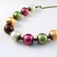 glass pearl and bronze necklace  vintage style by jinjajewellery, £12.00