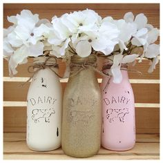 Set of 3 Handpainted Glass Milk Bottles, Dairy Bottles, Pink and Gold, Centerpieces, Baby Shower, Shabby Chic, 1st Birthday, Baby Shower