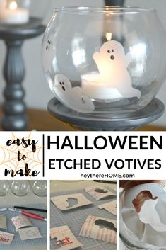 Get the tutorial for this Halloween ghost etched votive 7 more easy DIY Halloween crafts via Boo! Get the tutorial for this Halloween ghost etched votive 7 more easy DIY Halloween crafts via Hey There Home Halloween Ghosts, Easy Halloween, Vintage Halloween, Halloween Crafts, Halloween Decorations, Ghost Crafts, Diy Crafts, Diy Home Decor On A Budget, Easy Diy