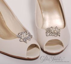 d24879382108c bridal shoe clips wedding shoe clips crystal shoe by GildedShadows