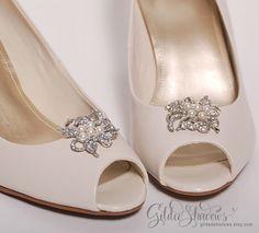 pearl shoe clips bridal shoe clips GildedShadows, $34.95 Etsy