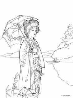 湖畔の日傘の女性の塗り絵の下絵、画像