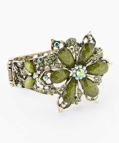 Green Rhinestone Flower Hinge Bangle by Punky Jewels #zulily #zulilyfinds