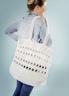Strandveske | free pattern | crocheted bag | crocheted tote | crochet pattern Crochet Pattern, Free Pattern, Crocs, Purses And Bags, My Design, Baskets, Backpacks, House, Inspiration
