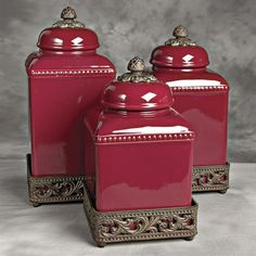 Ceramic Tuscan Red Kitchen Canister Set...  Out of my price range but still pretty.