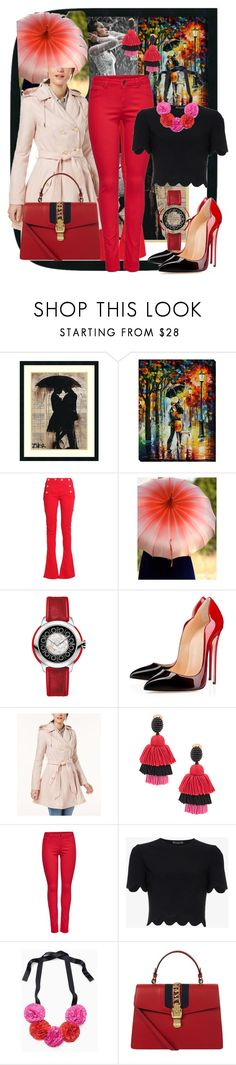"""""""Pink & Red in the Rain"""" by kflorence ❤ liked on Polyvore featuring Amanti Art, Balmain, Fendi, Laundry by Shelli Segal, Oscar de la Renta, M&Co, Alexander McQueen, Kate Spade, Gucci and rainydayoutfit"""
