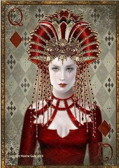 Maxine Gadd published fairy and fantasy artist. Exceptional digital illustrations and mystical beings Pierrot Clown, Playing Cards Art, Fairy Art, Queen Of Hearts, Deck Of Cards, Lady In Red, Fantasy Art, Art Drawings, Steampunk