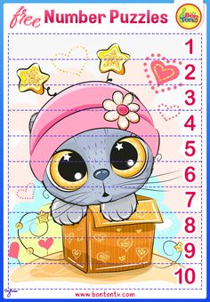 FREE Number Puzzles - Preschool Printables for Kids - Learning Numbers, Counting - Fun Math Activities and Worksheets for Homeschooling by BonTon TV - Besplatne Puzzle za zabavno učenje brojeva od 1 do 10 - Matematika, Brojanje do 10 Number Puzzles, Maths Puzzles, Puzzles For Kids, Worksheets For Kids, Free Preschool, Preschool Printables, Numbers For Kids, Numbers Preschool, Fun Math Activities