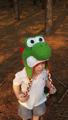 Crochet Yoshi Beanie nintendo hat crochet by Simplyhookinit, $30.00