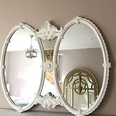 Large Oval Baroque Mirror, Bathroom Vanity, White Distressed Mirror, Shabby Chic Style, 2 Mirror Vanity, Hand Painted, White Oval Mirror