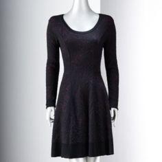 Simply Vera Vera Wang Jacquard Fit & Flare Sweaterdress - Women's
