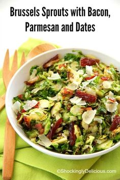 Brussels Sprouts with Bacon, Parmesan and Dates   Thanksgiving Brussels Sprouts Side Dish Recipe   #SundaySupper