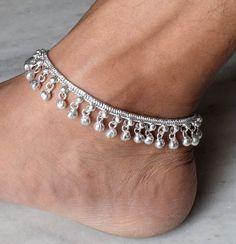 Bell Anklet Bracelet Silver Ethnic Adjule Indian