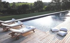 Côté Sud - pool wood deck countryside view edited by lb for (l) Outdoor Spaces, Outdoor Living, Indoor Outdoor, Outdoor Decor, Outside Pool, House Deck, Beautiful Pools, Pool Decks, Back Patio