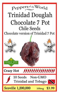 Trinidad Douglah / Chocolate 7 Pot super hot pepper seeds.  Douglah could be the next World's Hottest Pepper with selective breeding techniques. It's a very rare pepper outside of a few Chilehead hobbyists.