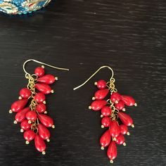 """HPNWOT Red Coral Earrings with GP Hooks HOST PICK6/19 for the Romantic & Feminine Party!   NWOT 4mm Round Red Coral Bead Earrings with GP Hooks. Earrings approx. 2.2"""" from the top of the ear wire to the bottom of the earring. No Trades & No PayPal Price firm. Not eligible for discount. Jewelry Earrings"""