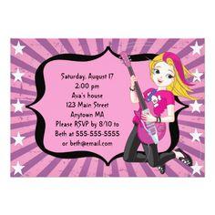 Blonde Rock Star Girl Birthday Invitation