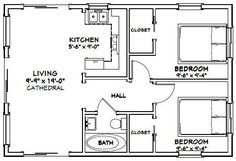 apartment floor plans This is a PDF Plan available for Instant home with microwave over . 20x30 House Plans, 2 Bedroom House Plans, Cottage Floor Plans, Small House Floor Plans, Cabin Floor Plans, Cottage Plan, Best House Plans, 2 Bedroom Apartment Floor Plan, Small Bathroom Floor Plans