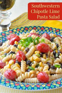 Bursting with fresh flavours, this Southwestern Chipotle Lime Pasta Salad makes a delicious barbecue side dish or add grilled shrimp or chicken for a complete meal.