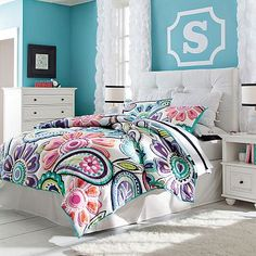 Kennedy Paisley Quilt   Sham #potterybarnteen. Great for the girls room with the black iron beds. Aqua walls. Awesome!