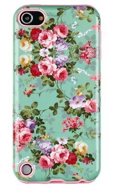 Amazon.com: DandyCase 2in1 Hybrid High Impact Hard Vintage Sea Green Floral Pattern + Pink Silicone Case Cover For Apple iPod Touch 5 (5th generation) + DandyCase Screen Cleaner: Electronics
