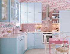 Дизайн розовой кухни в интерьере - 100 фото