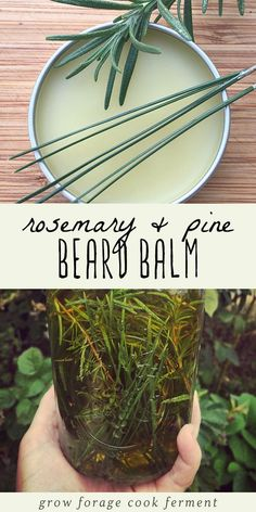 Learn how to make this DIY rosemary pine beard balm for that bearded man in your life! This is a terrific homemade beauty product for men made with all natural ingredients including a homemade infused oil, beeswax, shea butter, and essential oils. Beard b Beauty Care, Diy Beauty, Beauty Hacks, Beard Balm, Beard Oil And Balm, Beard Soap, Natural Beauty Tips, Natural Beauty Products, Beauty Photography